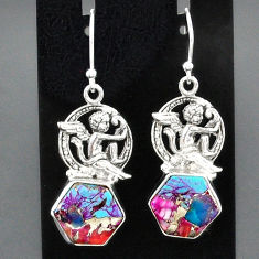 10.59cts spiny oyster arizona turquoise 925 silver angel earrings r95171