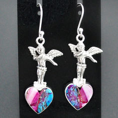 10.41cts spiny oyster arizona turquoise 925 silver angel earrings r95185