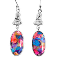 15.36cts spiny oyster arizona turquoise 925 silver buddha charm earrings r62399