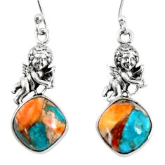 10.81cts spiny oyster arizona turquoise 925 silver dangle angel earrings r50943