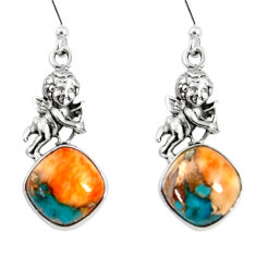10.60cts spiny oyster arizona turquoise 925 silver dangle angel earrings r50956