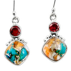 11.57cts spiny oyster arizona turquoise 925 silver dangle earrings r45846