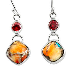 12.19cts spiny oyster arizona turquoise 925 silver dangle earrings r45849