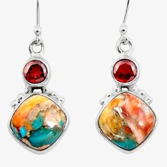 11.20cts spiny oyster arizona turquoise 925 silver dangle earrings r45850