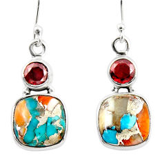 12.25cts spiny oyster arizona turquoise 925 silver dangle earrings r45852