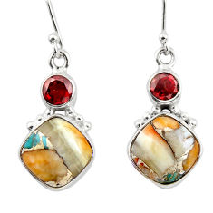 12.22cts spiny oyster arizona turquoise 925 silver dangle earrings r45854