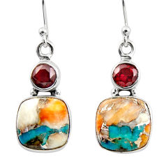 11.77cts spiny oyster arizona turquoise 925 silver dangle earrings r45855