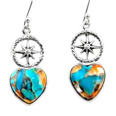 8.60cts spiny oyster arizona turquoise 925 silver dangle earrings r46784