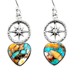 8.15cts spiny oyster arizona turquoise 925 silver dangle earrings r46785