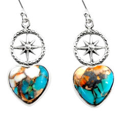 8.65cts spiny oyster arizona turquoise 925 silver dangle earrings r46786