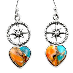 7.72cts spiny oyster arizona turquoise 925 silver dangle earrings r46788