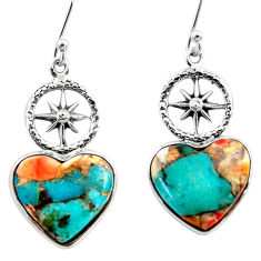 10.97cts spiny oyster arizona turquoise 925 silver dangle earrings r46789