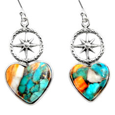 11.12cts spiny oyster arizona turquoise 925 silver dangle earrings r46792