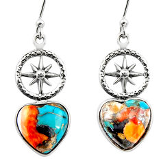 8.55cts spiny oyster arizona turquoise 925 silver dangle earrings r46794