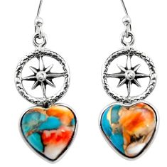 8.88cts spiny oyster arizona turquoise 925 silver dangle earrings r46795