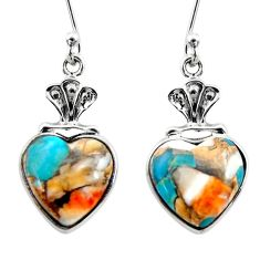 7.67cts spiny oyster arizona turquoise 925 silver dangle earrings r46796