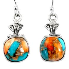 9.29cts spiny oyster arizona turquoise 925 silver dangle earrings r50942