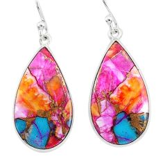 12.35cts spiny oyster arizona turquoise 925 silver dangle earrings r93166