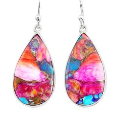 10.64cts spiny oyster arizona turquoise 925 silver dangle earrings r93187