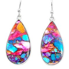 11.69cts spiny oyster arizona turquoise 925 silver dangle earrings r93189