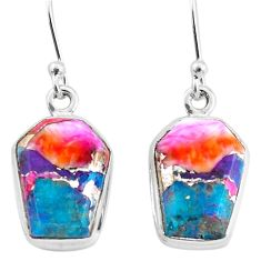 10.79cts spiny oyster arizona turquoise 925 silver dangle earrings t3664