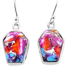 11.25cts spiny oyster arizona turquoise 925 silver dangle earrings t3681