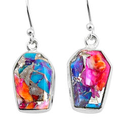 11.18cts spiny oyster arizona turquoise 925 silver dangle earrings t3691
