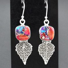 9.61cts spiny oyster arizona turquoise 925 silver deltoid leaf earrings r95141