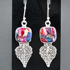 10.05cts spiny oyster arizona turquoise 925 silver deltoid leaf earrings r95147