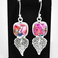 11.66cts spiny oyster arizona turquoise 925 silver deltoid leaf earrings t4066