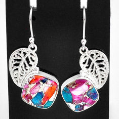 11.66cts spiny oyster arizona turquoise 925 silver deltoid leaf earrings t4071