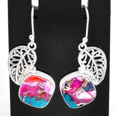 11.23cts spiny oyster arizona turquoise 925 silver deltoid leaf earrings t4075