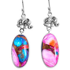 15.82cts spiny oyster arizona turquoise 925 silver elephant earrings r62385