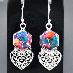 10.94cts spiny oyster arizona turquoise 925 silver heart love earrings r95161