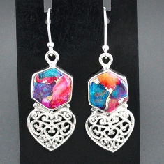 10.91cts spiny oyster arizona turquoise 925 silver heart love earrings r95163