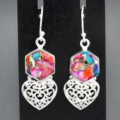 10.30cts spiny oyster arizona turquoise 925 silver heart love earrings r95172