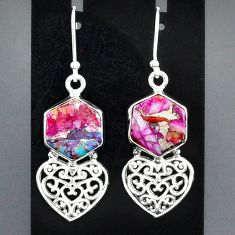 10.96cts spiny oyster arizona turquoise 925 silver heart love earrings r95175