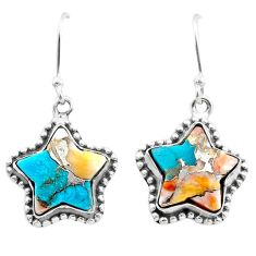 10.43cts spiny oyster arizona turquoise 925 silver star handmade earrings t50622