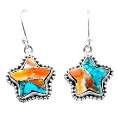 9.56cts spiny oyster arizona turquoise 925 silver star handmade earrings t50625