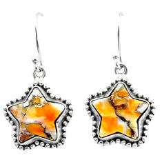 9.97cts spiny oyster arizona turquoise 925 silver star handmade earrings t50628