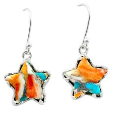 8.07cts spiny oyster arizona turquoise 925 silver star handmade earrings t50638