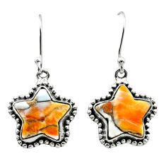 10.43cts spiny oyster arizona turquoise 925 silver star handmade earrings t50640