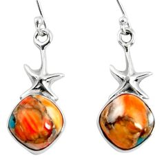 9.56cts spiny oyster arizona turquoise 925 silver star fish earrings r50949