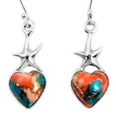 8.26cts spiny oyster arizona turquoise 925 silver star fish earrings r50953