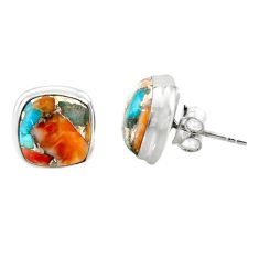 9.57cts spiny oyster arizona turquoise 925 silver stud earrings r43855