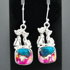 10.01cts spiny oyster arizona turquoise 925 silver two cats earrings r96820