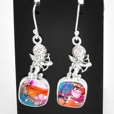 12.36cts spiny oyster arizona turquoise 925 sterling silver angel earrings t4069