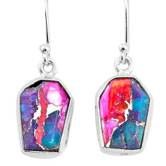 9.82cts spiny oyster arizona turquoise 925 sterling silver dangle earrings t3682