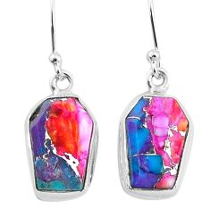 9.82cts spiny oyster arizona turquoise 925 sterling silver dangle earrings t3687