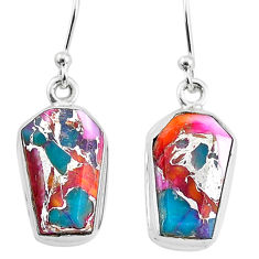 9.87cts spiny oyster arizona turquoise 925 sterling silver dangle earrings t3689